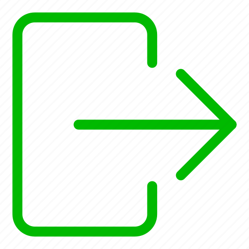 exit, go out, green, logout, out, signout icon