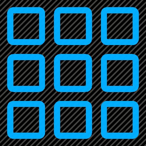 apps, blue, grid, interface, list, menu icon