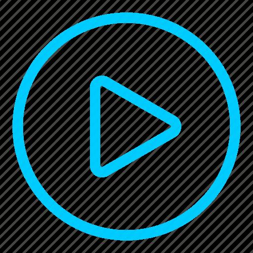 blue, film, media, movie, multimedia, play, player icon