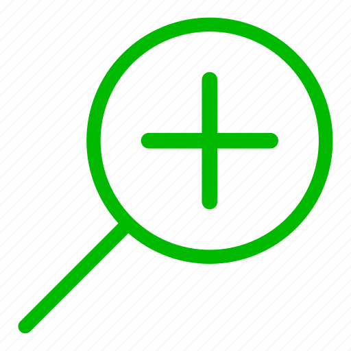 glass, green, magnifier, resize, zoom in icon