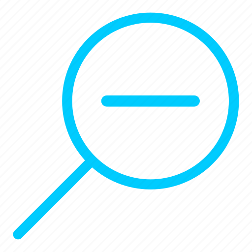 blue, glass, magnifier, resize, zoom out icon