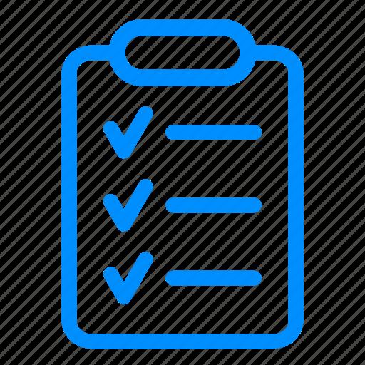 blue, checklist, clipboard, report, tasklist, ticks icon