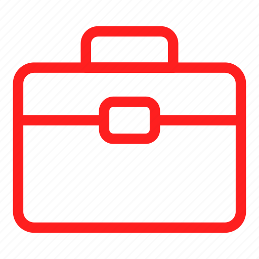 bag, business, case, documents, finance, red icon