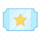 cinema, concert, coupon, paper, pass, star, ticket icon