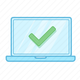 check, computer, done, finished, laptop, notebook, technology icon