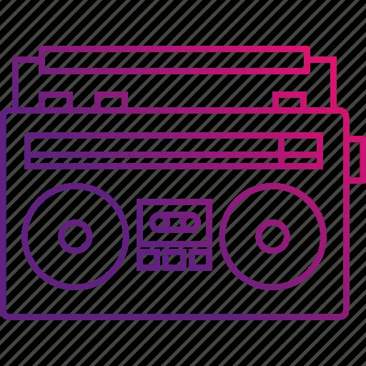 cassette, music, old, radio, recorder icon