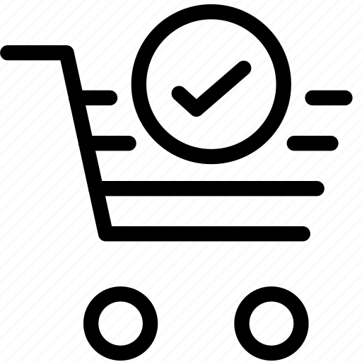 basket, cart, ecommerce, shopping, shopping cart, successful icon