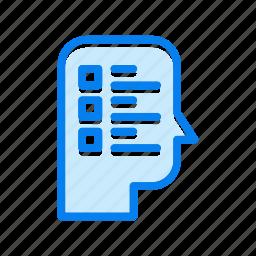 head, survey, thinking icon