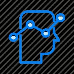 diagram, graph, head, report, statics, thinking icon