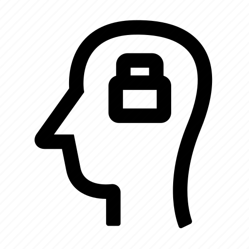 brain, creative, lock, thinking, thoughts icon