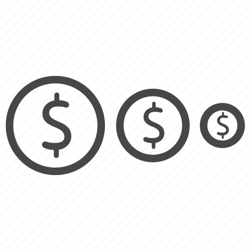 coins, machine, size, ticket, type icon