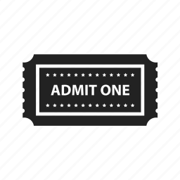 admit one, cinema, circus, coupon, entertainment, event, film, movie, music, star, stars, theater, ticket icon