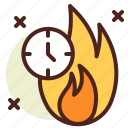 burning, clock, schedule, time icon