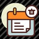 calendar, clock, delete, event, schedule icon