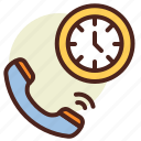call, clock, in, schedule, time icon
