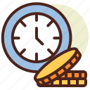clock, gets, money, schedule, time icon