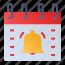 alarm bell, calendar, date, event, schedule icon