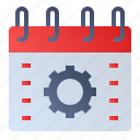 calendar, date, event, gear, schedule, settings icon