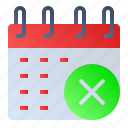 calendar, date, delete, event, schedule icon