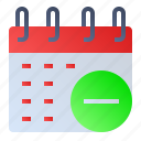 calendar, date, event, remove, schedule icon
