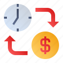 business-time, clock, dollar, time is money icon