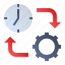 clock, gear, time, work icon