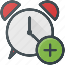 add, alarm, clock, set, time icon