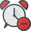 alarm, clock, disable, remove, time icon