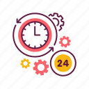 24-hour, anytime, clock, hour, management, time, timer icon
