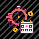 calendar, clock, deadline, management, project, schedule, stopwatch icon