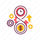 business, clock, finance, management, money, time, work icon