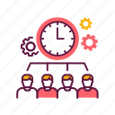 clock, group, management, organise, people, teamwork, time