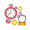 deadline, finger, hand, management, punctually, stopwatch icon