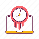 clock, computer, laptop, management, spend, time, work icon