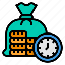 bag, time, coins, is, money, clock icon
