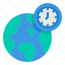 world, zone, earth, time, clock icon