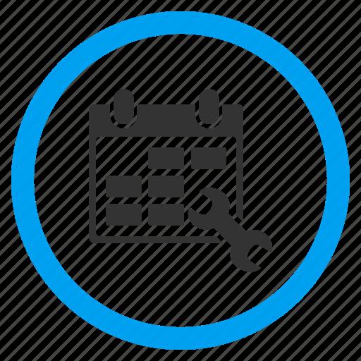 calendar, configuration, plan service, schedule, settings, setup date, tools icon