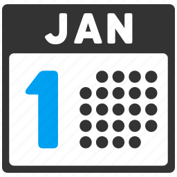 1st day, business, calendar, january first, new year, number 1, schedule icon