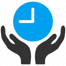 care, clock, hands, insurance, measure, support, time management icon