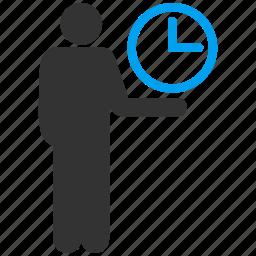 chef, clock, dinner, flunky, food, garcon, restaurant service, staff, steward, time service, waiter icon