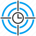 aim, clock, focus, marketing, solution, strategy, time target icon