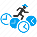 clocks, gentleman, job, male, rat run, running man, work icon