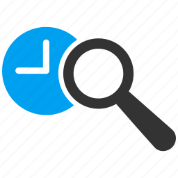 clock, explorer, find, search, view time, watch, zoom icon
