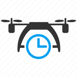 air drone, aircraft, clock, flying machine, radio control uav, time, unmanned aerial vehicle icon