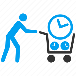 basket, business, buy, clock, customer, shopping cart, time icon