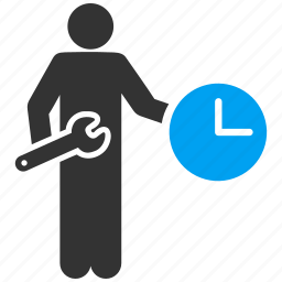 business, clock repair, maintenance, repairman, serviceman, time service, work icon