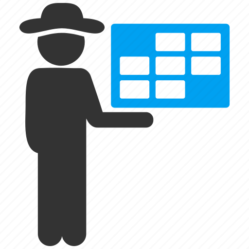 agent, appointment, calendar, duty table, man, schedule, support icon