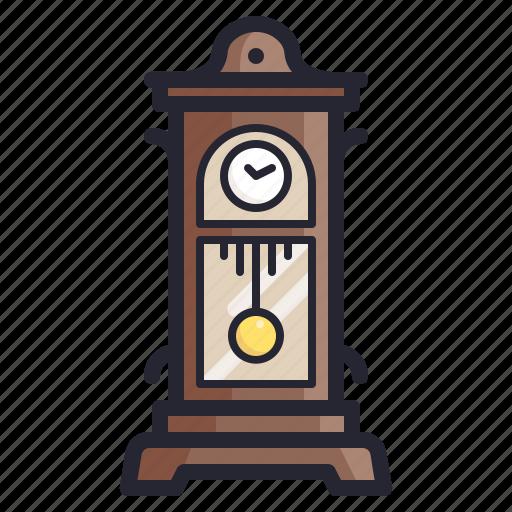 clock, furniture, old, retro, time, vintage icon