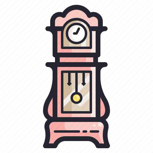 clock, furniture, old, retro, time, vintage icon