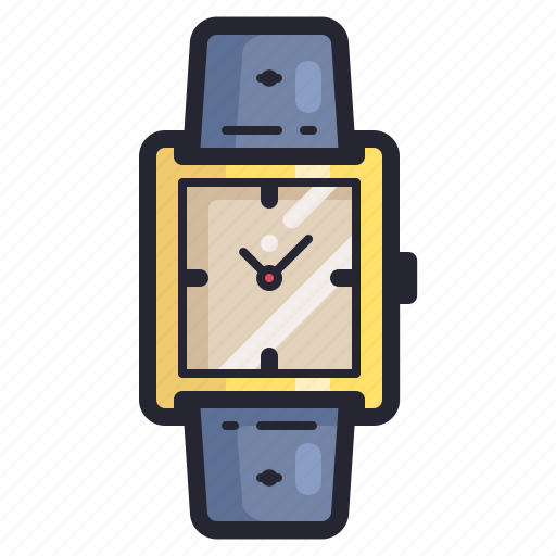 accessories, clock, fashion, rectangular, time, watch icon